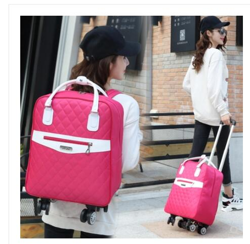 backpack with skateboard suitcase with wheels rolling travel luggage scooter with bag portable multi functional trolley case Wheeled bag for travel Women travel backpack with wheels trolley bags Oxford large capacity Travel Rolling Luggage Suitcase Bag