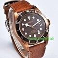 Corgeut 41mm Brass PVD Coated Case Mens Automatic Watch Sapphire Glass Coffee Bezel Clock Luminous Hands Timepiece CA2010BZ