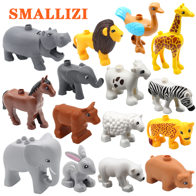 Figuras Modelo de Grandes Blocos de Construção de animais Do Jardim Zoológico Tigre Cavalo Leão Avestruz Vacas Elefante conjunto DIY Educacional Tijolos Brinquedos Para As Crianças