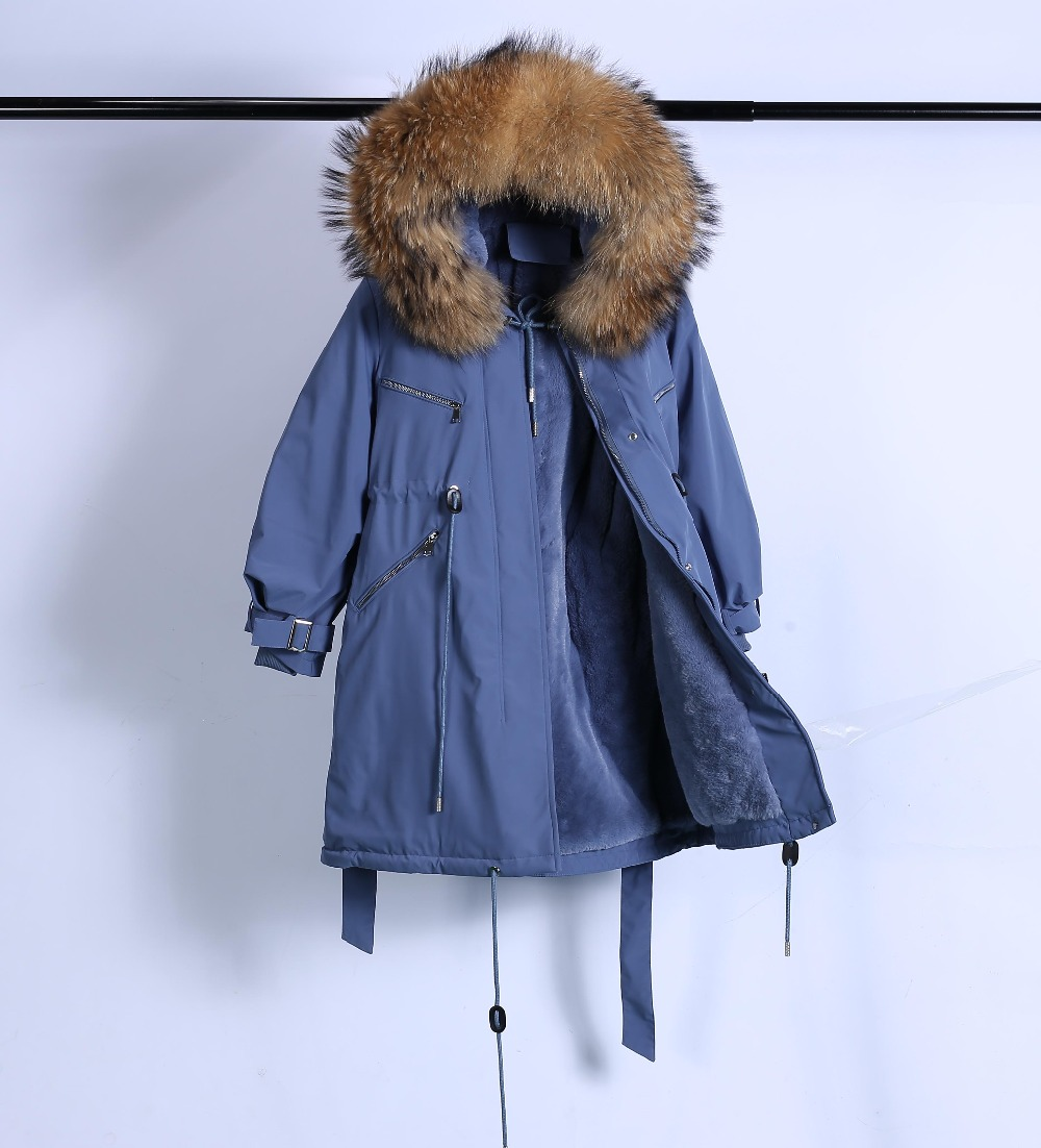 Large Natural Raccoon Fur Winter Jacket Women Hooded 19 Long Parkas For Female Thick Slim Down Winter Coat Women Waterproof 52