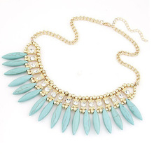 Match-Right New 2015 Hot Pendant Necklace Women Bohemia Jewelry Link Chain Statement Necklaces Rhinestone Pendants