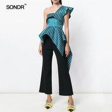 SONDR Striped Sleeveless Women Blouse Butterfly Sleeve Irregular Ruffles High Waist Slim Shirt Female Fashion 2019 Summer