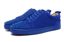Hot Blue Suede Leather Men Low Up Casual Style Shoes Spikes Toe Mela Fashion Lace Up Flat Vulcanize Shoe Street Style Dress Shoe