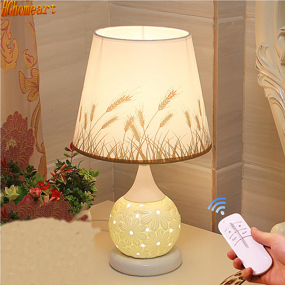 HGhomeart European Table Lamp Bedroom Bedside Modern Simple Energy Saving Fashionable Dimming Creative Led Light Feeding