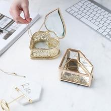 El nuevo Diamante de cristal con forma de corazón joyería caja de almacenamiento anillo collar tocador maquillaje contenedor de almacenamiento de organizador