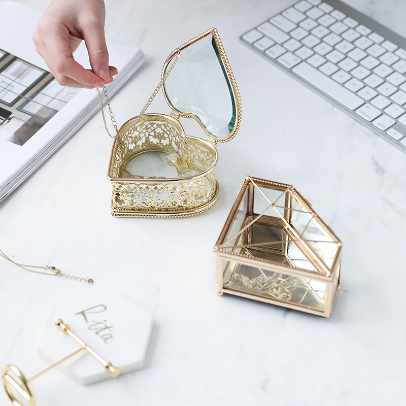 The New Diamond Heart Shape Glass Jewelry Storage Box Ring Necklace Dressing Table Makeup Organizer Storage Container