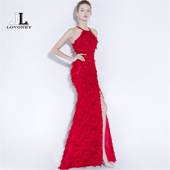 LOVONEY YS433 Sexy Side Split Long Prom Dresses 2019 New Design Mermaid Formal Dress Women Occasion Party Dresses Prom Gown Prom Dresses