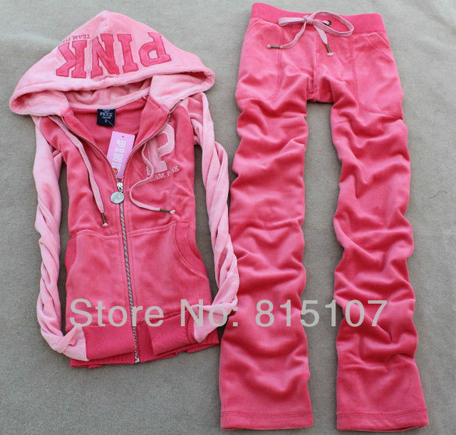 Patchwork Track Suit for women  high Quality Velvet  PINK Tracksuits  hooded pants 2pcs