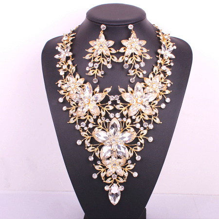 New design big flower bridal jewelry set crystal gold Color prom