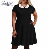 Nemidor Women Vintage 1950s Peter Pan Collar Midi Halloween Swing Dress Casual Short Sleeve 7XL 8XL 9XL Plus Size A line Dress