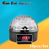10PCS/LOT DJ 9 Color LED Sound Activated Party Light Rotating Laser Lamp DMX Control Crystal Magic Ball Disco Light Strobe