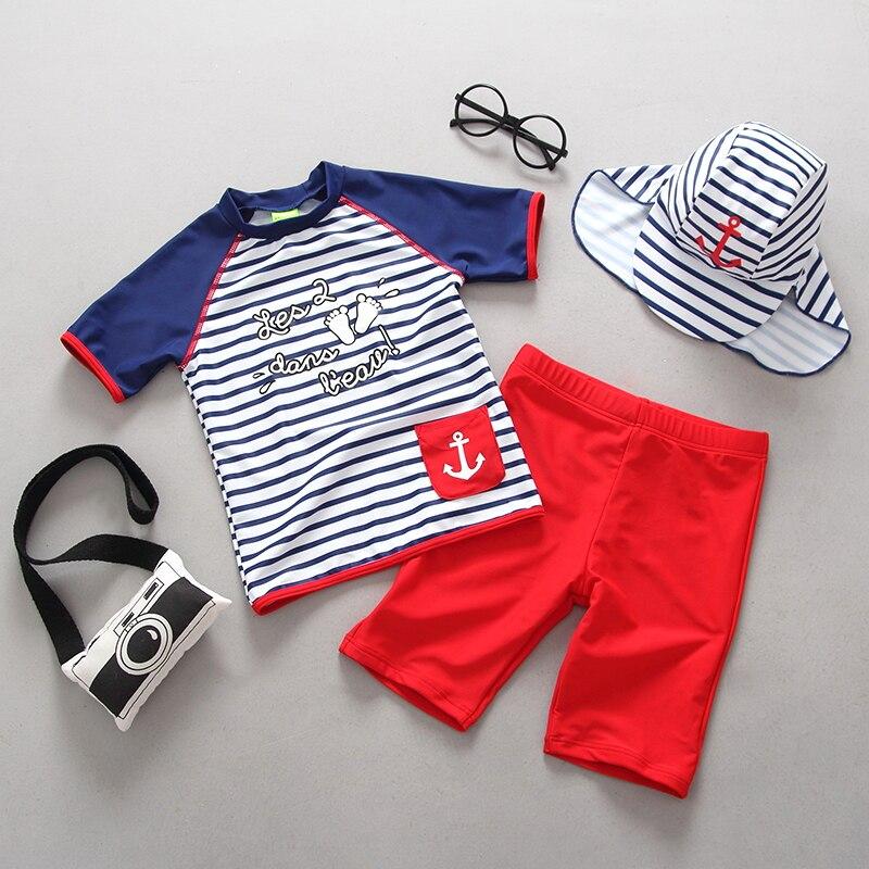 2-Piece Boys Beachwear Sports Bathing Suits Summer Kids swimsuit Boy 3pcs/set Hat+Shirts+Trunks Rash Guard Set Children Swimwear