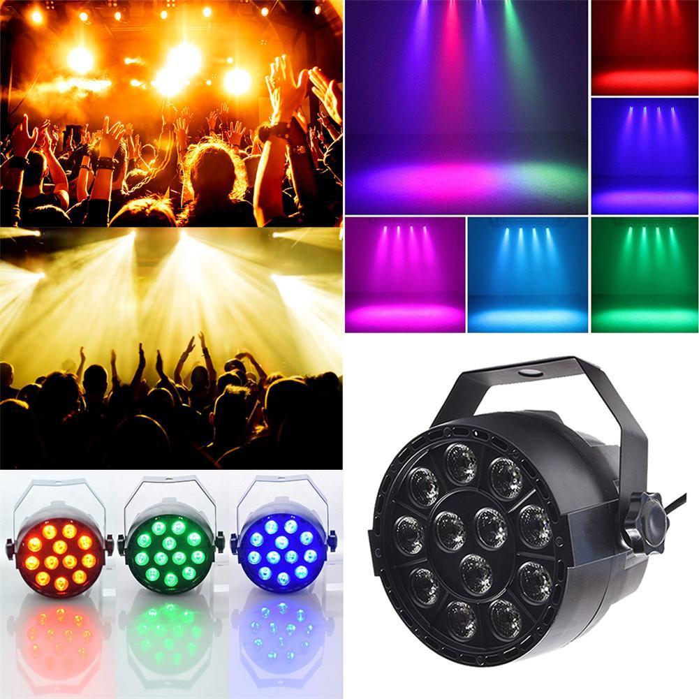 все цены на Par Light 12 LED RGB 3IN1 18W Stage Lighting DMX 512 Club Disco Party Ballroom KTV Bar Wedding DJ Projector Spotlight онлайн