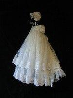 2016 платье на крестины для маленьких девочек, украшенное бусинами; платье для малышей; блестящий кружевной наряд для крещения с чепчиком