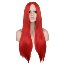 QQXCAIW Women 70 Cm Long Straight Cosplay Wig Party Red Blue Blonde 100% High Temperature Fiber Synthetic Hair Wigs