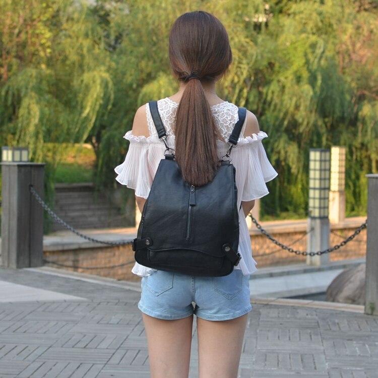 Women Backpack female brand back pack college style cowwider leather backpack school backpacks vintage student schoolbag