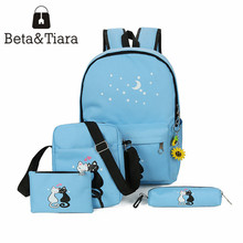2017 new canvas cat backpack 4pcs/set school bags for women Kawaii school backpack with animals Rugzaki bolsa masculina