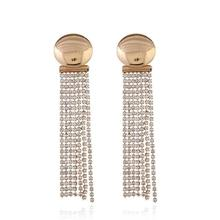 Women Drop Earring Gold Color Rhinestones Long Tassel Statement Jewelry For Wedding Party Anniversary