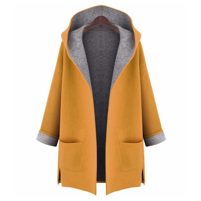 Autumn Winter 2019 Loose Woollen   Trench   Coat Women Long Sleeve Pockets Hooded Coat Large Size Open Stitch Woman Street   Trench