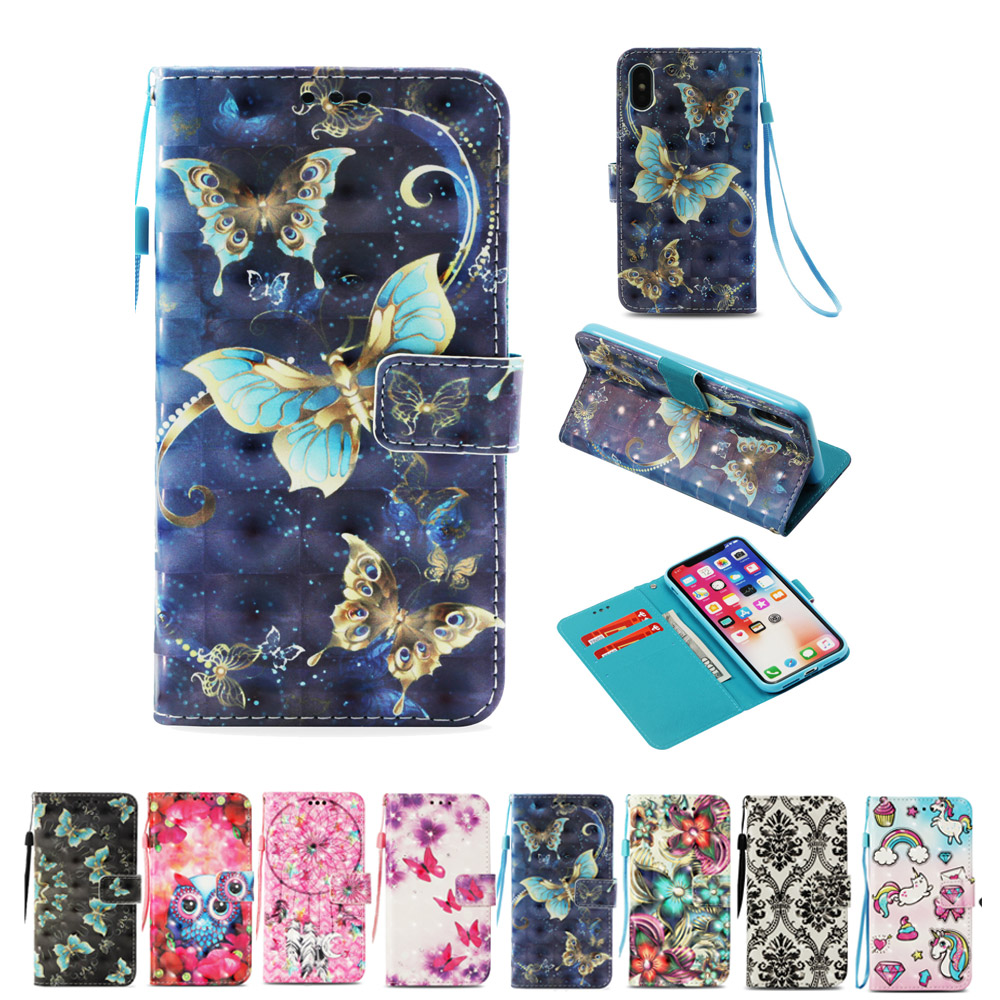 Painted case For Iphone XS XR XS MAX 8 X butterfly owl Unicorn pattern Flip Stand Case For Iphone 8plus Wallet Phone Cover Card(China)