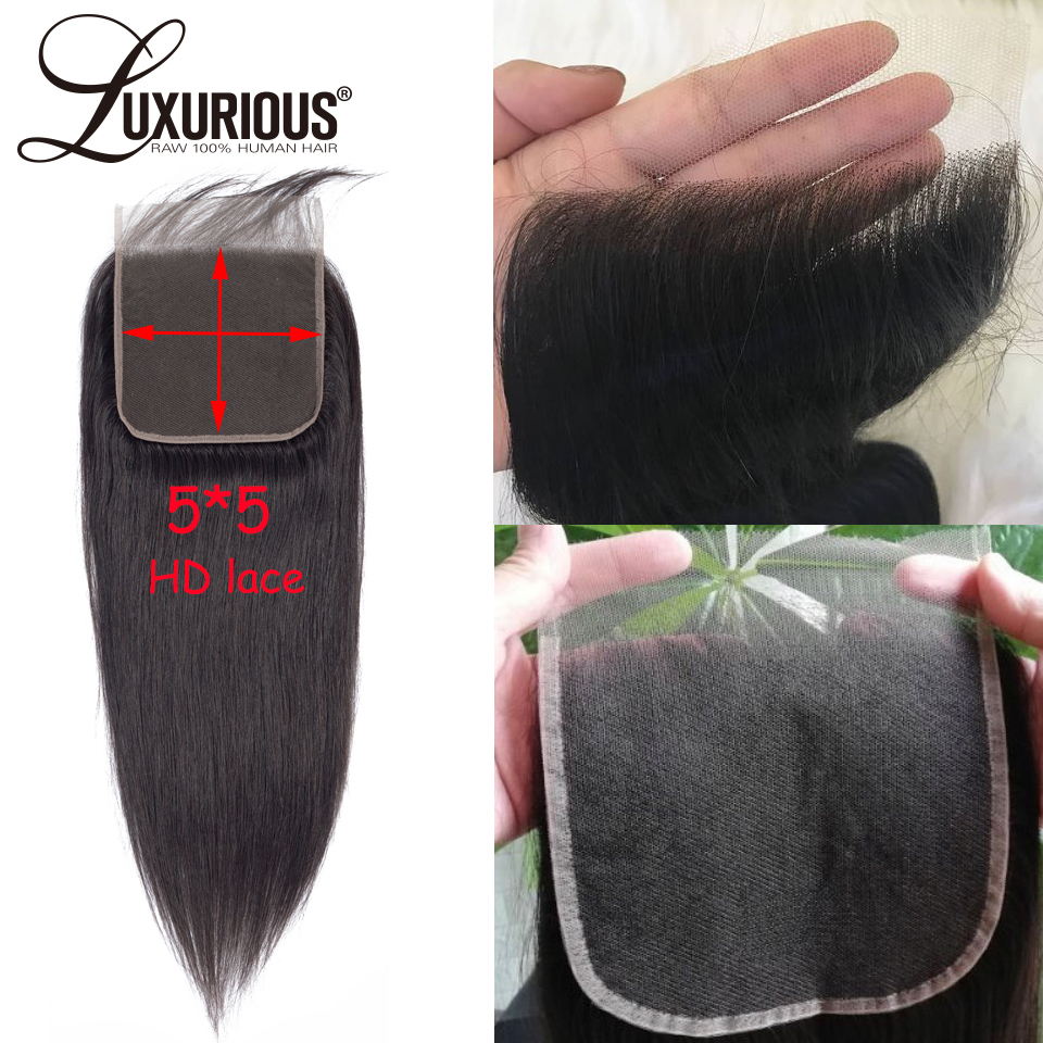 5X5 Invisible HD Lace Closure With Long Part Straight Brazilian Remy Human Hair Lace Closure Pre Plucked Hairline With Baby Hair