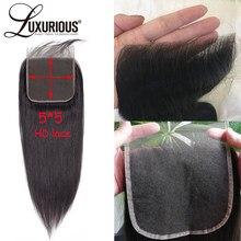 Perruque Lace Closure Remy brésilienne naturelle, cheveux lisses, HD Invisible 5x5, naissance des cheveux pre-plucked, avec Baby Hair, longue partie