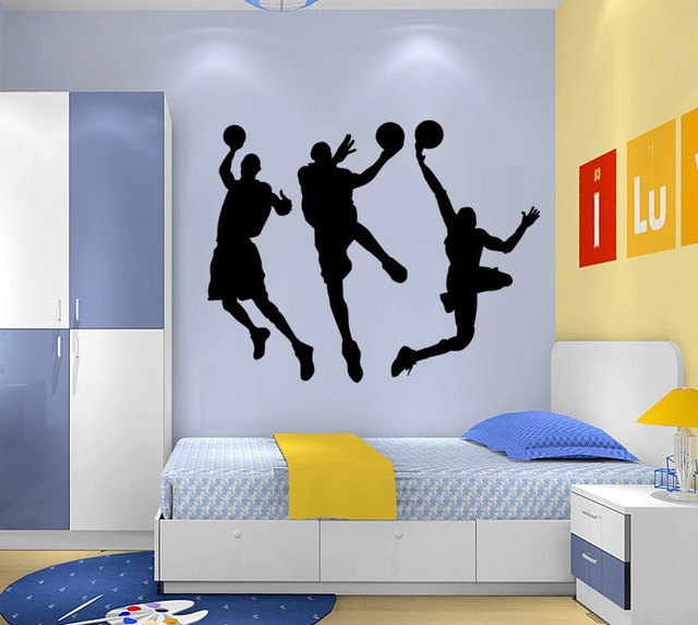 Europe trade wholesale and custom living room bedroom wall stickers play basketball background wallpaper water remove