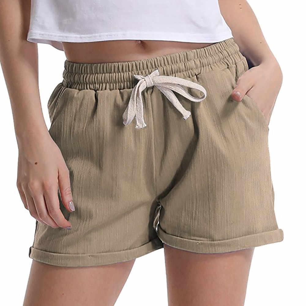 1e4d961250 Summer Womens Shorts New Elastic Waist Activewear Fashion Lounge Shorts  Pockets Beach Casual Shorts Wholesale And