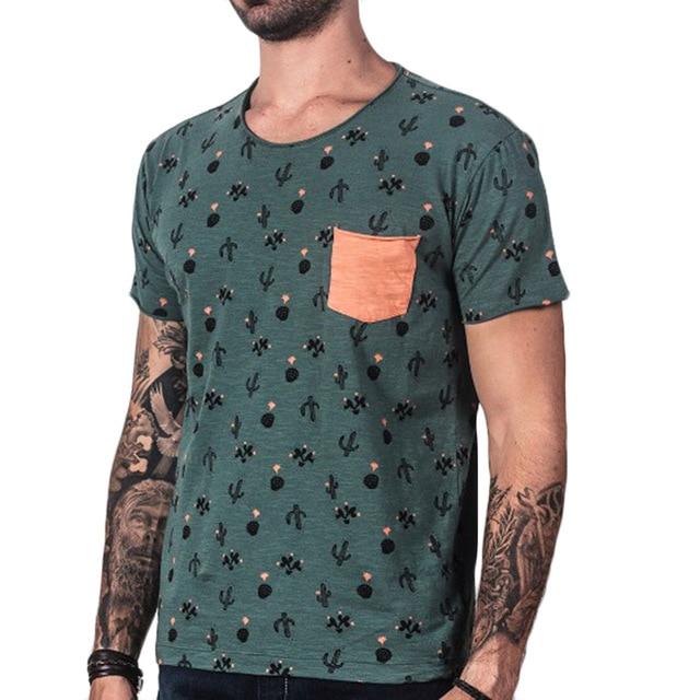 4bbf9e9d 2017 Printed Green T shirt Mens Cactus Casual T Shirts Streetwear-in ...