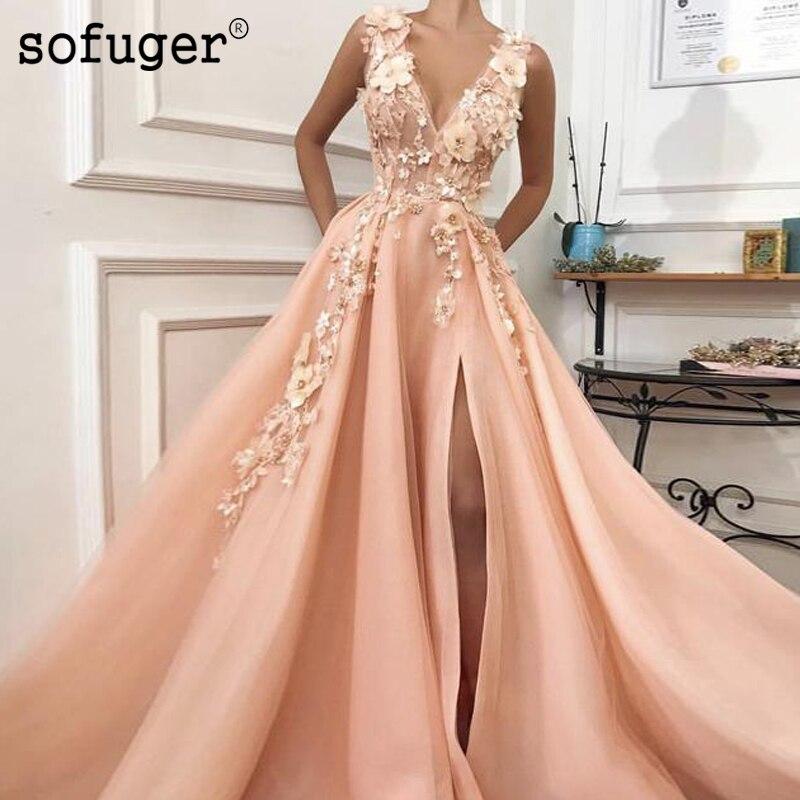 Sexy V Neck Flower A Line High Slit Tulle   Evening     Dress   Pleat Robe De Soiree Prom Vestidos De Fiesta Formal Party   Dress