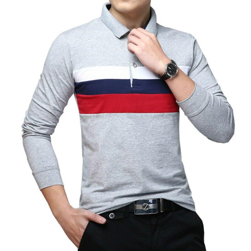 2019 automne décontracté grande taille t-shirt coréen hommes solide coton rayé à manches longues rayé revers livraison gratuite offre spéciale M-5XL