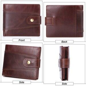 Image 3 - MISFITS cowhide men short wallet brand fashion purse with coin pocket 100% genuine leather credit card holder money bag for male