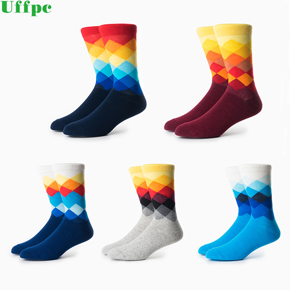 3 Pairs/lot New Socks men high quality lengthened socks Funny casual cotton socks latest design happy socks clothes Breathable