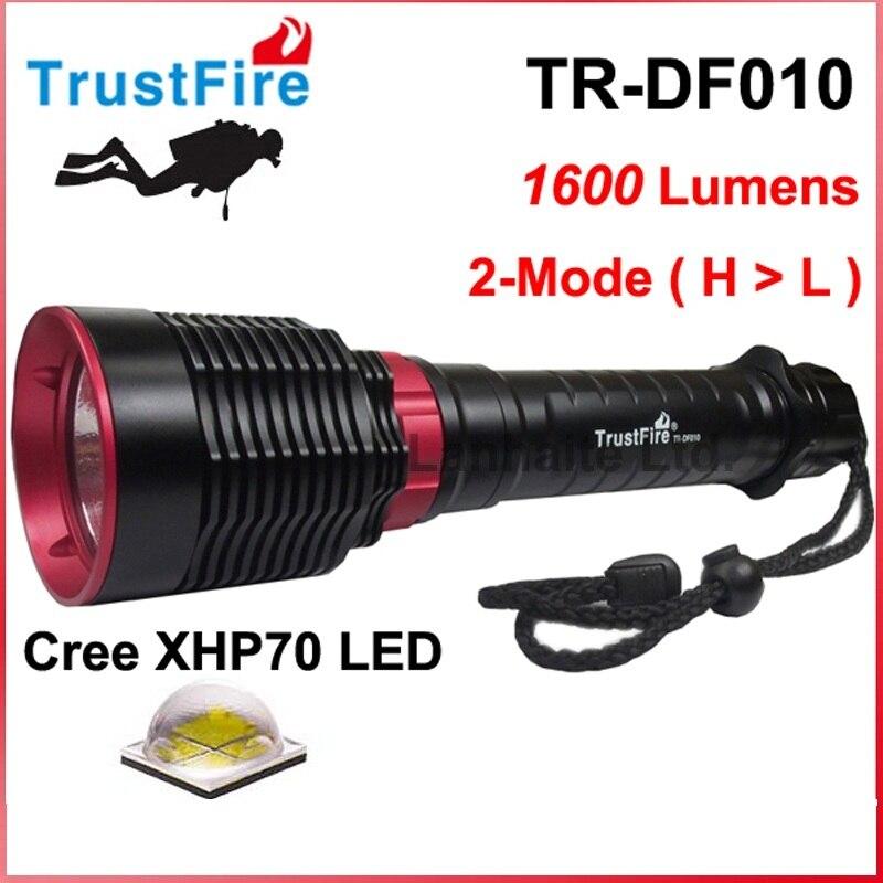 2016TrustFire TR-DF010 Lanterna Cree XHP70 1600 Lumens Diving LED Flashlight - Black ( 2x26650 Battery ) фонарик brand new 2015 t6 2000lm lanterna 26650 batteyr efl0509