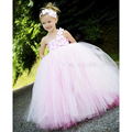 2016 New Design Pink Girls Dresses Double Layer Colors Pink Rose Girls Kids Tutu Dresses For Brithday Party PT147