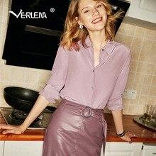 7a9221aef9a Verlena Plus Size Korean Fashion Woman Blouses 2018 Chic Elegant OL 100%  Silk Purple Pink Blouse Long Sleeve Shirt Women Tops