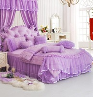 Princess purple pink red single double bed set,twin full queen king fairyfair cotton bedclothes bedspread pillowcase quilt cover