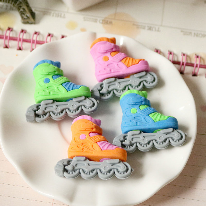 1 Pcs /bag Creative Cartoon Kawaii Skates Rubber Eraser Creative Stationery Office School Supplies Papelaria Free Delivery