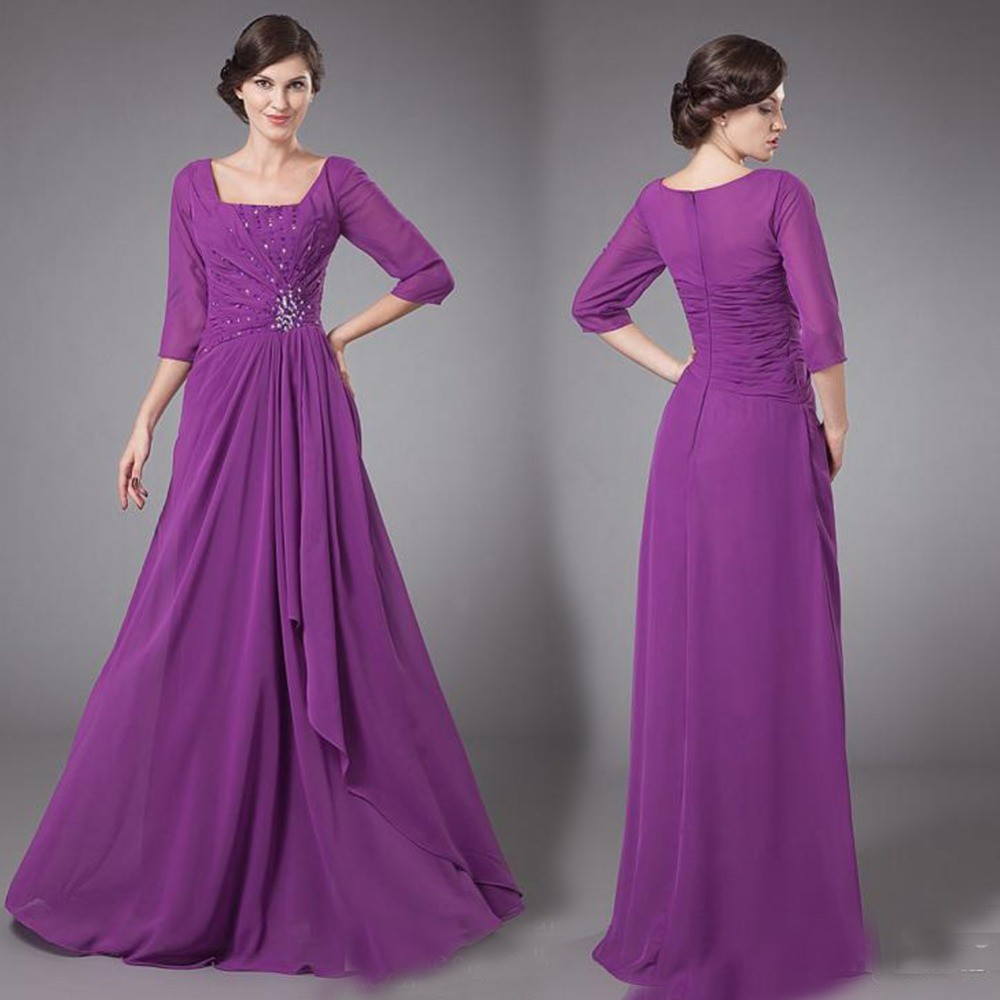 a2c08d40dd60 Purple Chiffon Long Modest Bridesmaid Dresses With 3/4 Sleeves Square  Beaded Formal Wedding Party Dress Maids of Honor Dresses