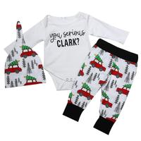 3Pcs Fashion Baby Christmas Clothes Set Letters Printed Long Sleeve White Romper Top Car Pattern Long