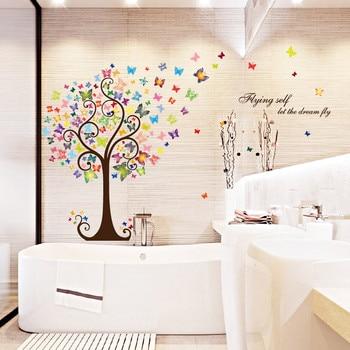 Stickers Muraux Arbre Coloré Papillon Amovible Décor à La Maison Sticker  Mural Décoration Maison Adesivo De Parede