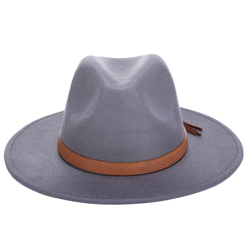 Горячая мода шерстяная шляпа зимняя женская мужская фетровая шляпа широкополый цилиндр шляпы женские винтажные большие Sombrero Джаз открытый кости - Цвет: Gray