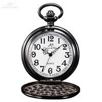 KS Retro Steel Case White Dial Analog Relogio Masculino Necklace Male Clock Pendant Fob Chain Men