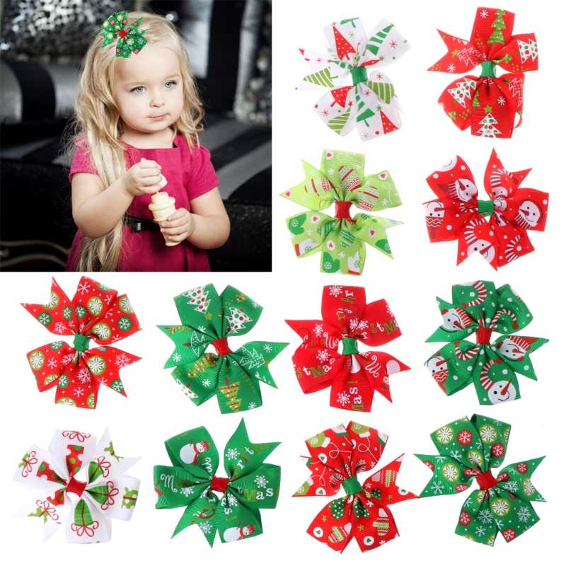 12Pcs Xmas Christmas Bowknot Hairpin Hair Bow Clips Barrette For Kids Girls
