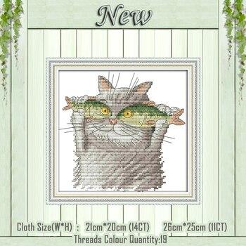 I amore pesce gatto del fumetto fai da te pittura contati stampato su tela di canapa DMC 14CT 11CT Cinese Punto Croce Set di Cucito Ricamo kit
