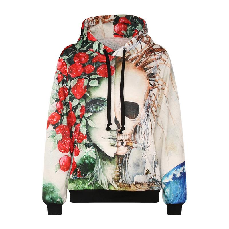Rose Charming Women Skeleton Smoke Novelty Design Punk Sweatshirt Plus Size Pullovers Tracksuits Hooded Autumn Winter Womens