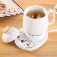 220V Cup Warmer Multi function Health Pot Timing Ceramic Electric Cup Heater Mug Warmer Tea Cup With Plate
