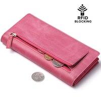 JEEBURYEE Kobiet Portfele Ze Skóry Naturalnej RFID Portfel Kobiet Monety Kiesy Długo Sprzęgło Szczupła Podróży Panie Portfel Posiadacza Karty Kredytowej
