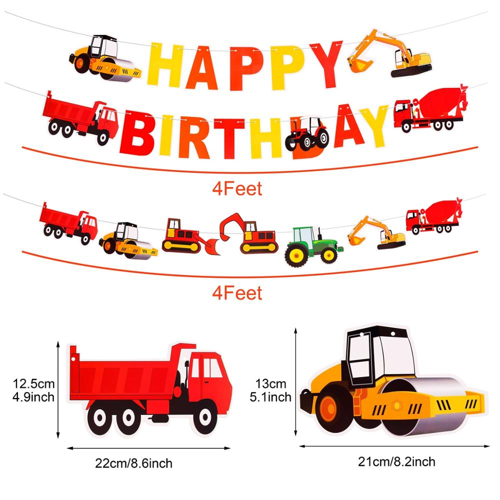 FENGRISE Construction Engineering Party Birthday Party Decoration Kids Boy 1 Birthday Boy Baby Shower Decoration Set Balloon Car in Party DIY Decorations from Home Garden
