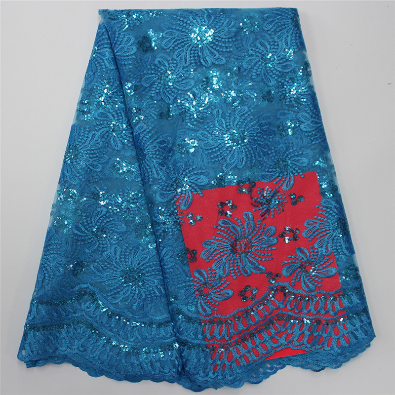 Favourite Design Hot sell African Oganza Laces For Party Dress PF61 , Corde Lace High quality with Full sequins Lake blue